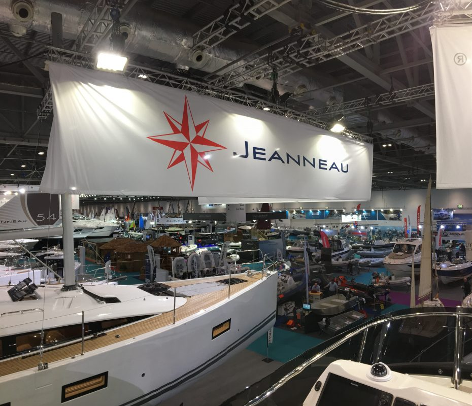 Jeanneau yacht on display at London boat show