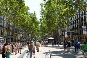 Paseo de Las Ramblas en Barcelona España.