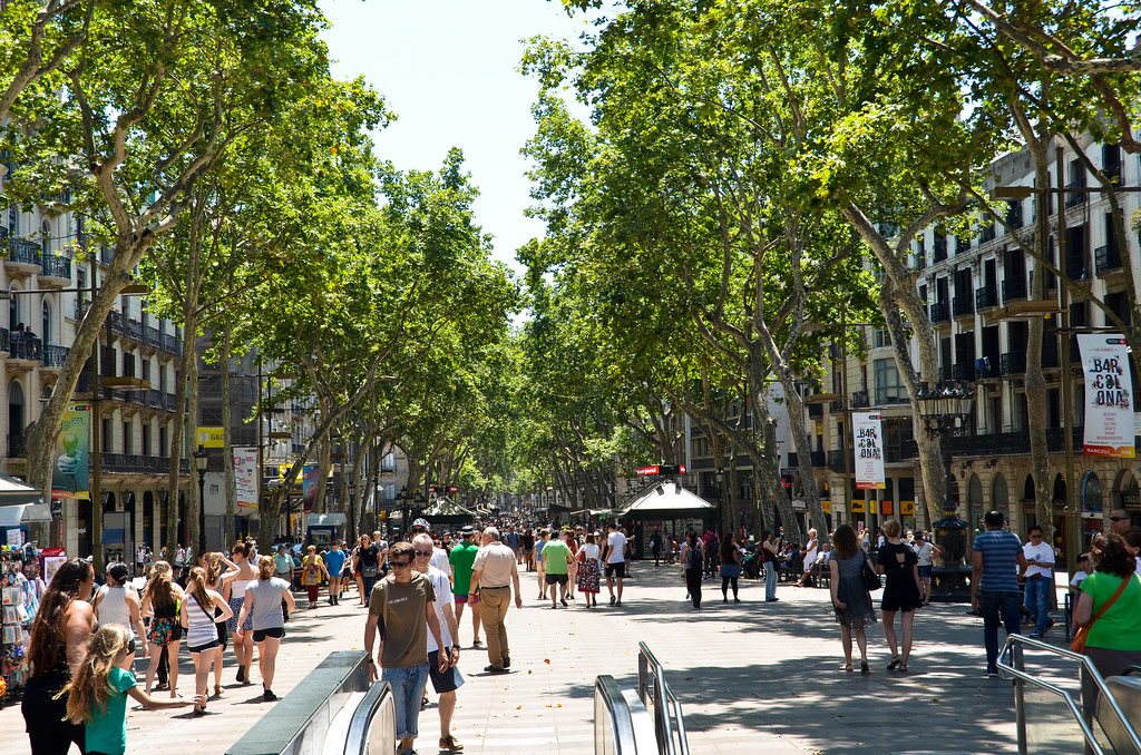 Las Ramblas busy with people walking