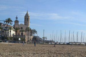 Church and Marina beach in Sitges